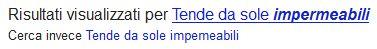 Esempio di correzione errore ortografico in Google Search