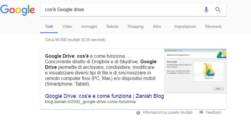 importanza ottenere 0 featured snippet google